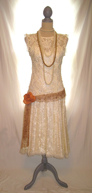 Great Gatsby style off white sheer lace sequence embellished sleeveless women's dress