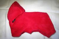 Flaušový overal s kapuckou červený