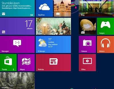 Pantalla de inicio en Windows 8 interfaz grafica estilo metro