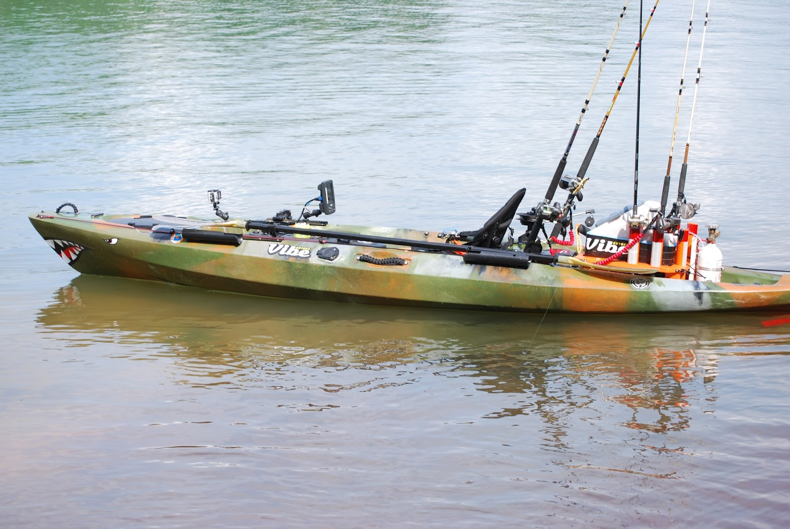 Tight Lines and Plastic Boats: Pictures of my rigged out 2015 Vibe Kayaks Sea Ghost 130