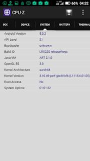 Hisense Pureshot - via aplikasi CPU-Z: versi Android-nya masih Lollipop 5.0.2