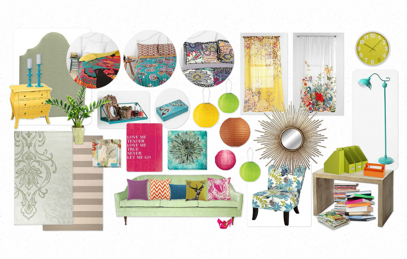 Eclectic, Colorful Artwork. Chinese Paper Lanterns. Floral Curtains.  Brightly Colored Quilt. Upholstered Headboard. Vintage Furniture To Paint A  Fun Color.