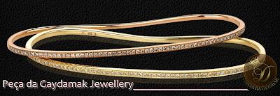 pulseira de mao fininha tira com strass ouro amarelo e ouro rose