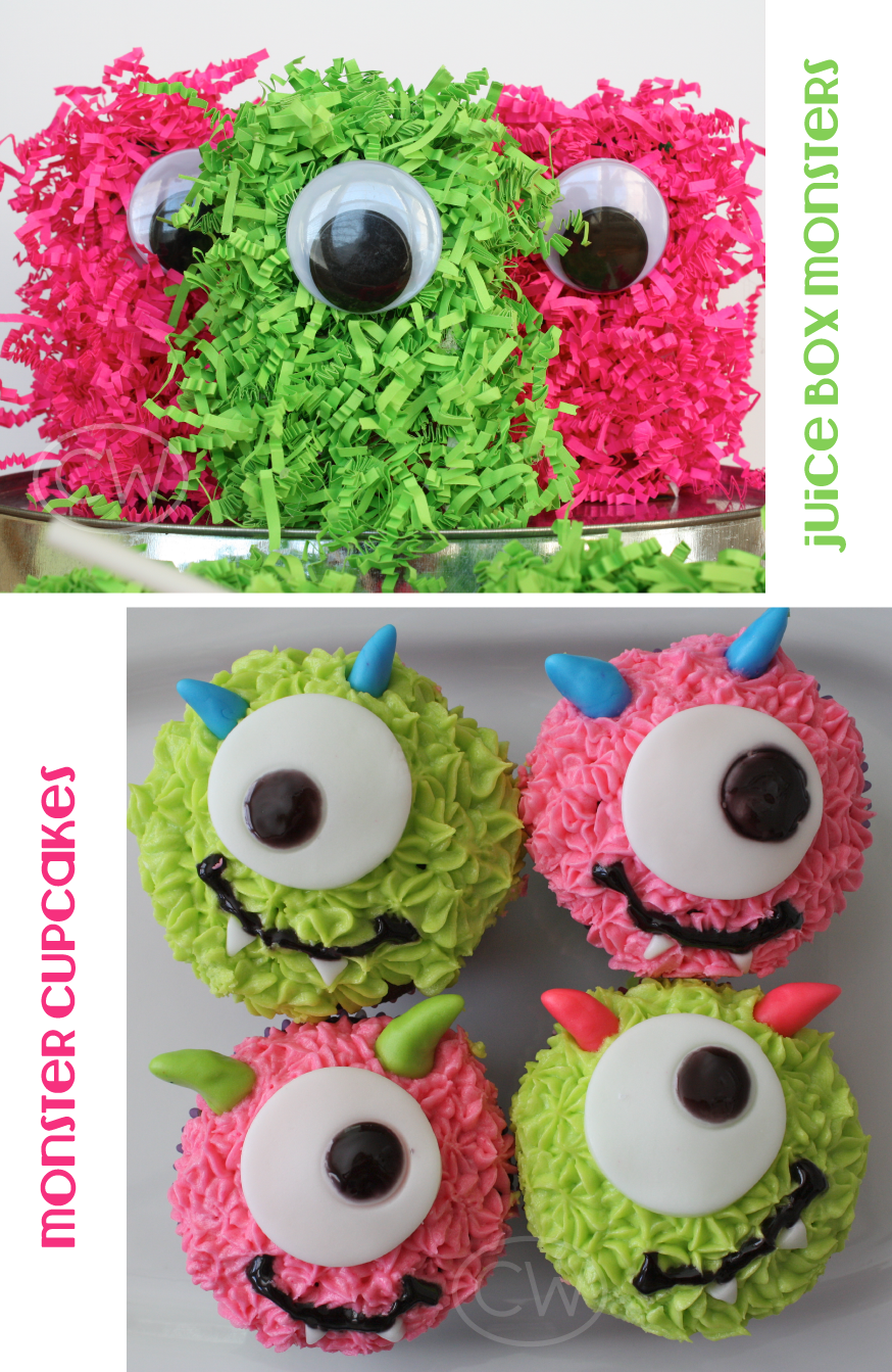 The kiddos feasted on fluffy monster juice boxes and one-eyed cupcakes ...
