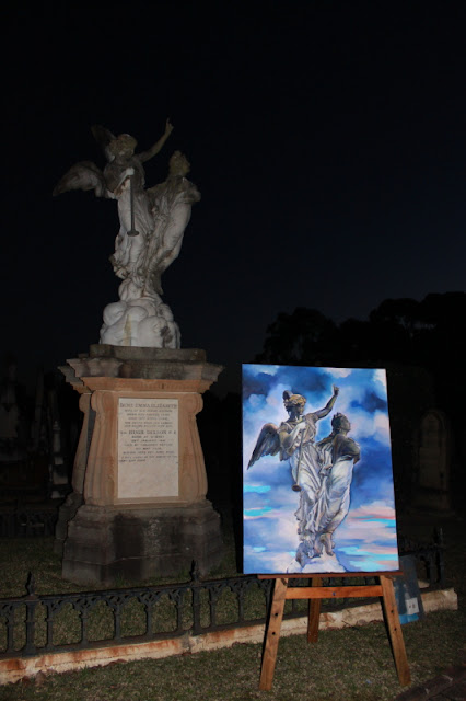 oil painting by artist Jane Bennett of the Dixson Monument, Rookwood Necropolis