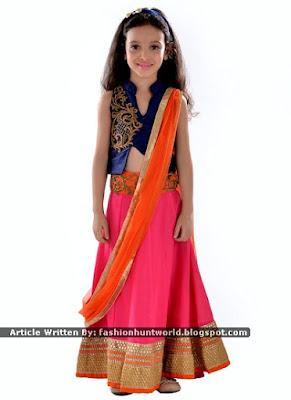 Blissful Beige Kids Anarkali And Blue n Pink Lehenga