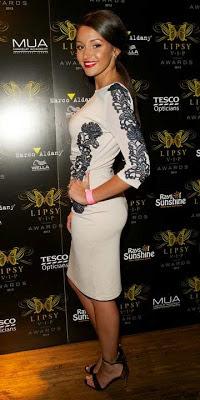 Michelle Keegan in Lipsy Wax Lace Silhouette Dress