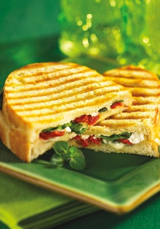 Spinach, Goat Cheese and Sun-Dried Tomato Panini , page 41, Vegetarian