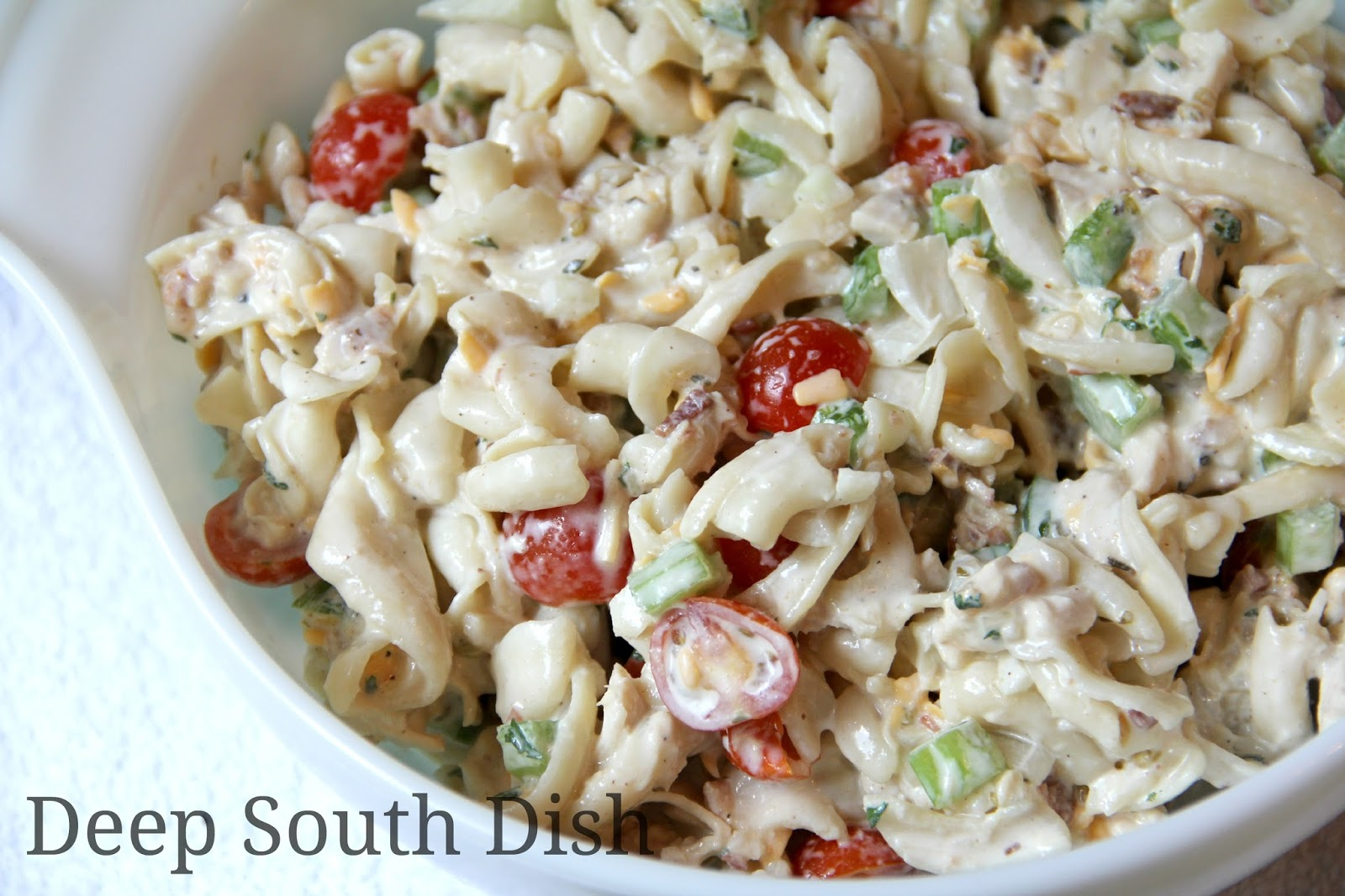Chicken Pasta Salad made with a homemade Ranch style vinegar dressing ...