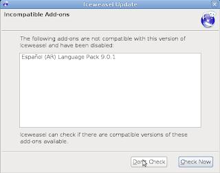 Versión anterior del paquete de idioma incompatible