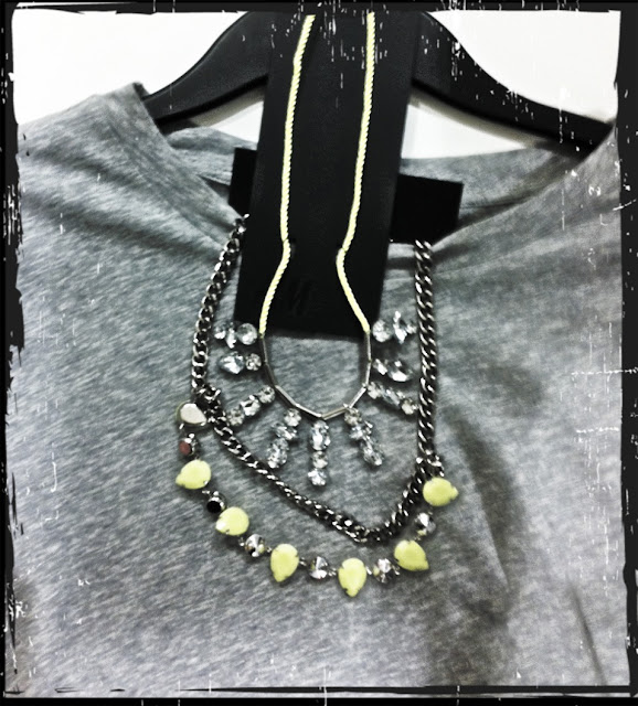 H&M Grey top, H&M necklace, necklace