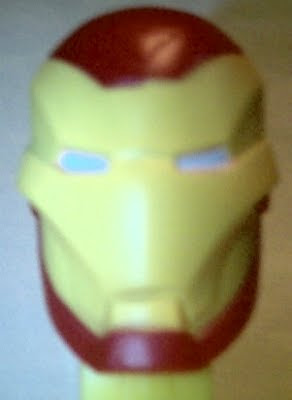 Close up of Iron Man PEZ face