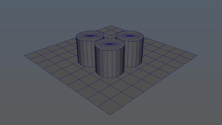 Uno, dos y tres cilindros encima de un plano