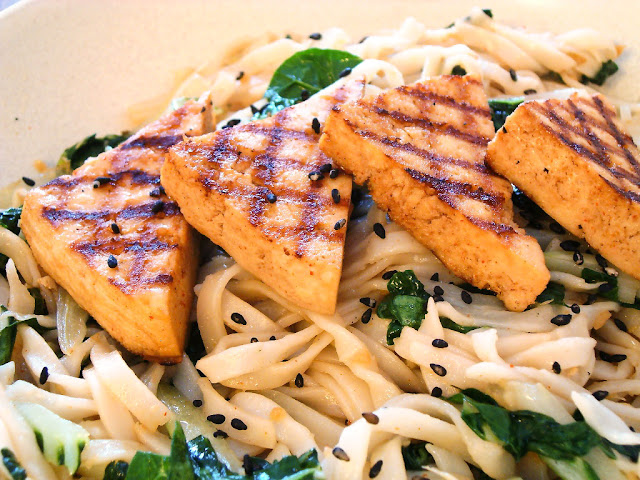Spicy Sesame Ginger Griddled Tofu with Pak Choi and Rice Noodles