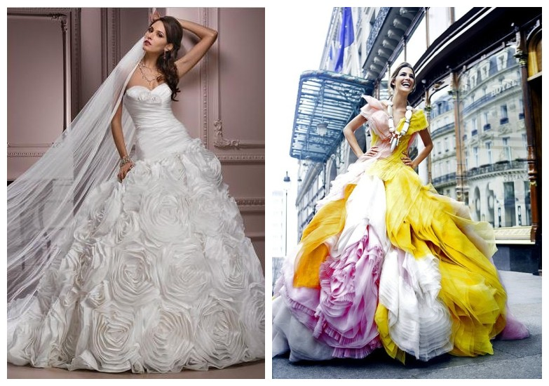 multi-colored ball gown wedding dresses