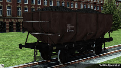 Fastline Simulation: This weathered rebodied dia 1/146 unfitted 21T coal hopper also wears freight brown livery but has the HTO TOPS code outside of a small boxed data panel.
