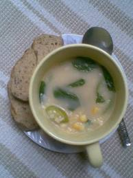 sweet corn n basil soup