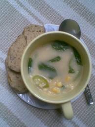 sweet corn n basil soup