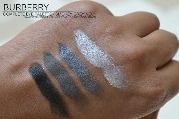 Burberry Vintage Gold Christmas Beauty Holiday 2012 Makeup Gifts Collection Complete Eyeshadow Palette Quads Indian Darker Skin Blog Swatches Smokey Grey No 01