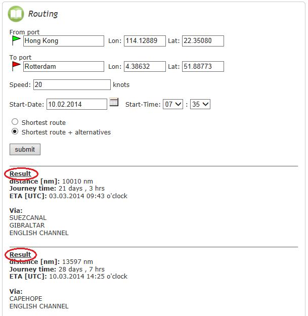 Routing parameters entry menu