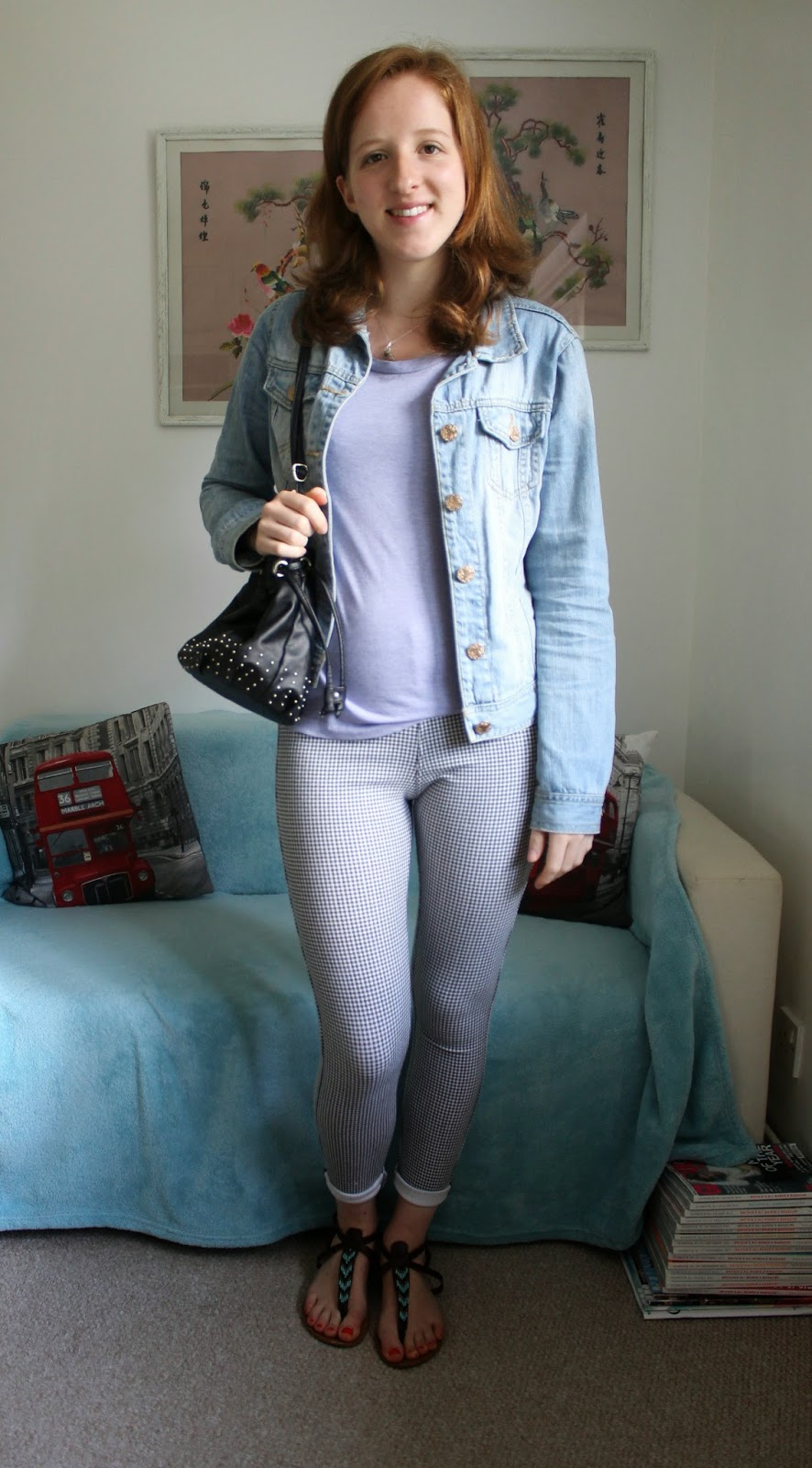 Gingham Leggings and Lilac OOTD