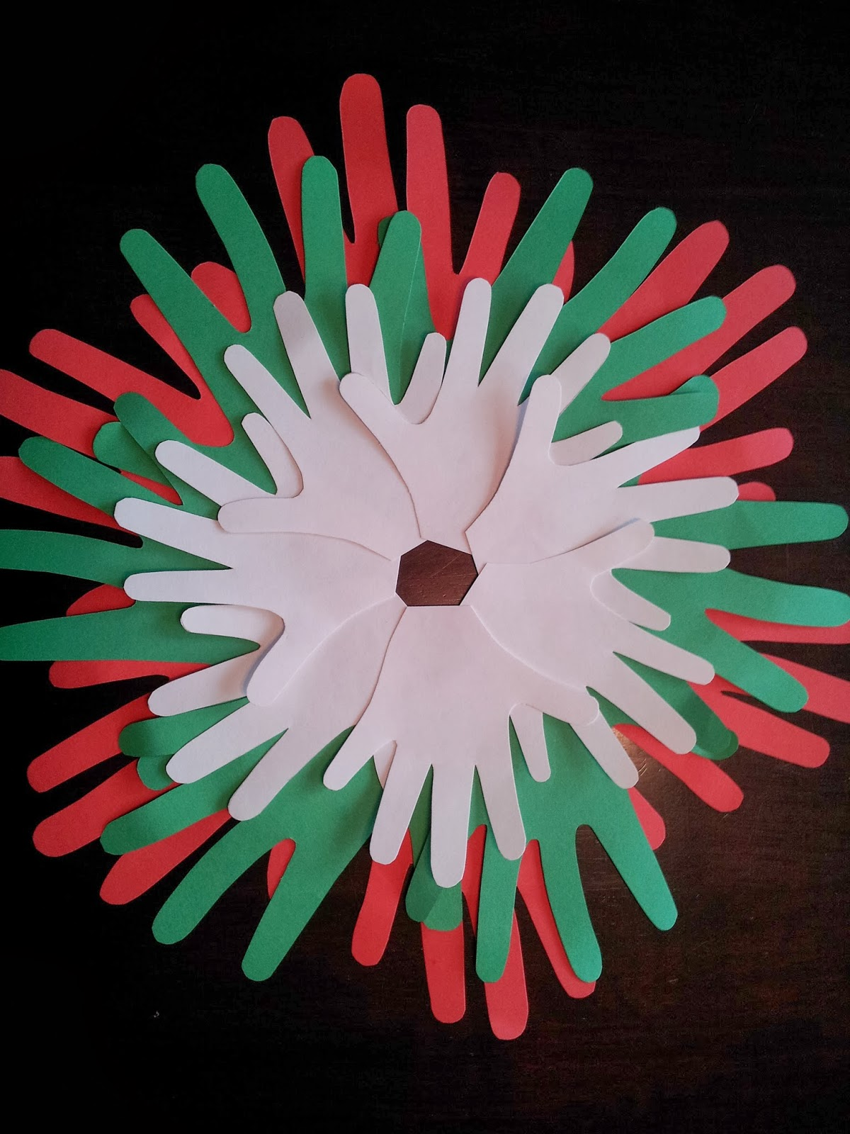 Christmas craft, kids craft, handprint craft, Christmas wreath