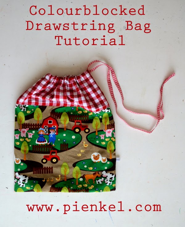 Colourblocked Drawstring Bag Tutorial Pienkel