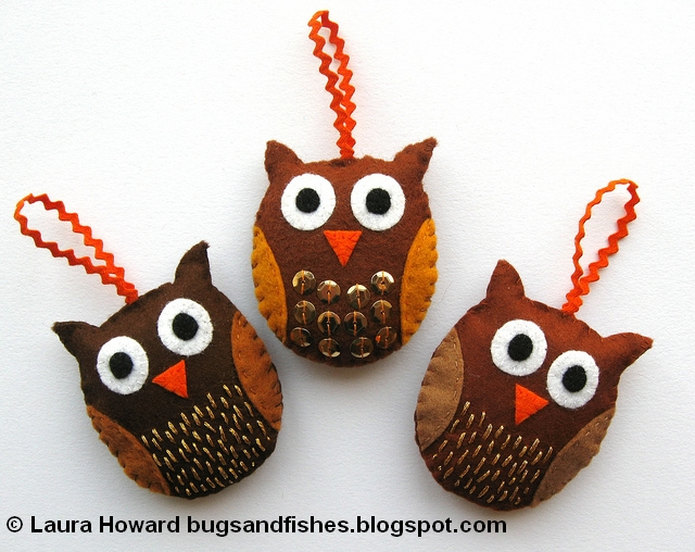 Bugs and fishes by lupin how to felt owl ornaments - How to make felt christmas decorations ...