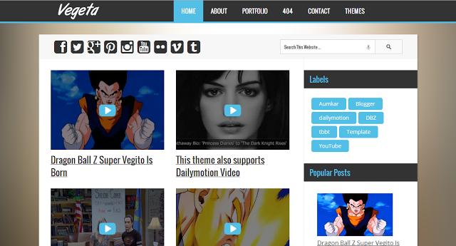 Vegeta - Blogger Template For YouTube & Dailymotion Videos ...