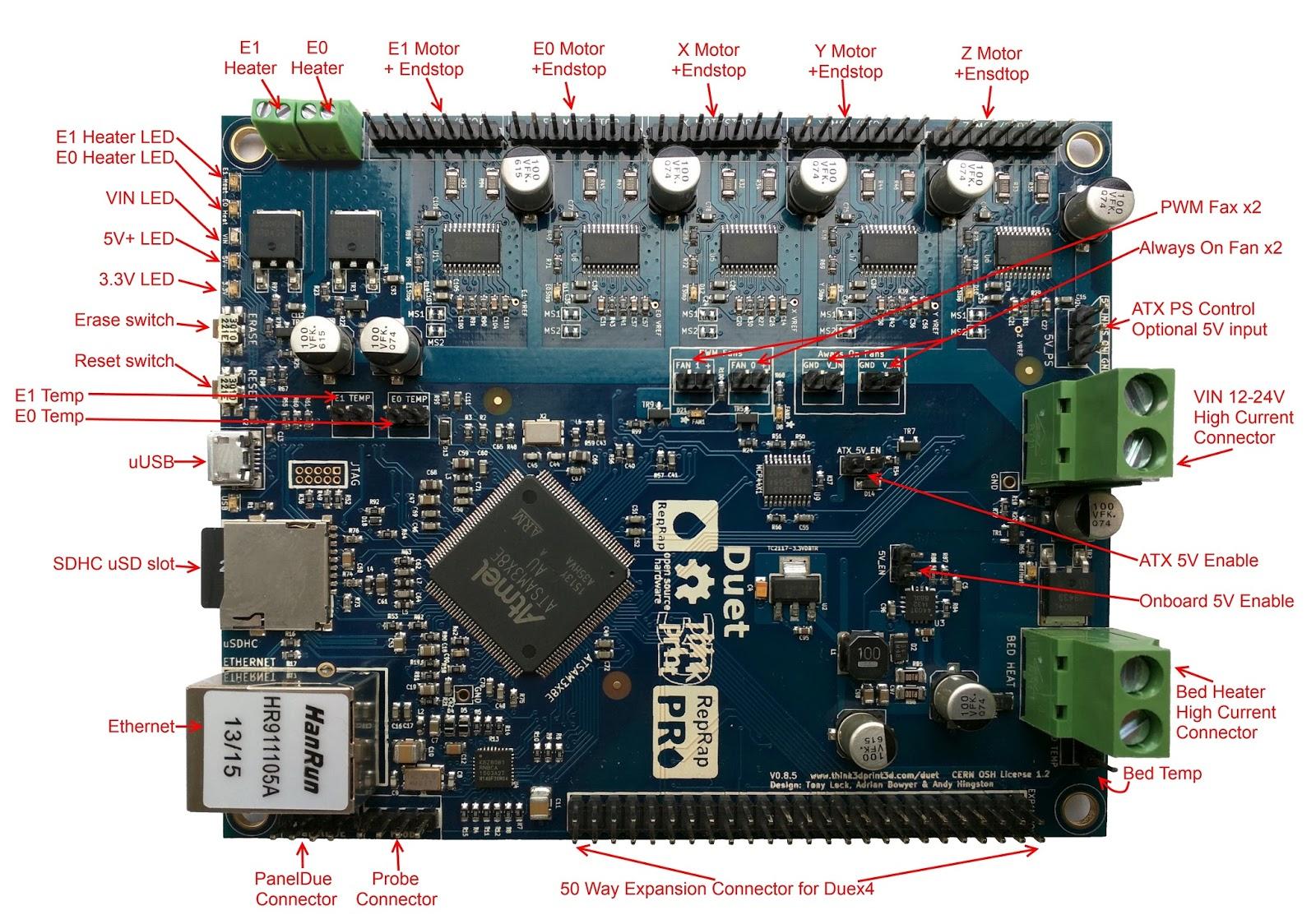 Think3dPrint3d New Duet Electronics Version 0 8 5