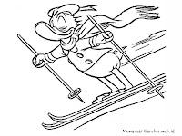 Gambar Donal Bebek Bermain Ski Untuk Diwarnai