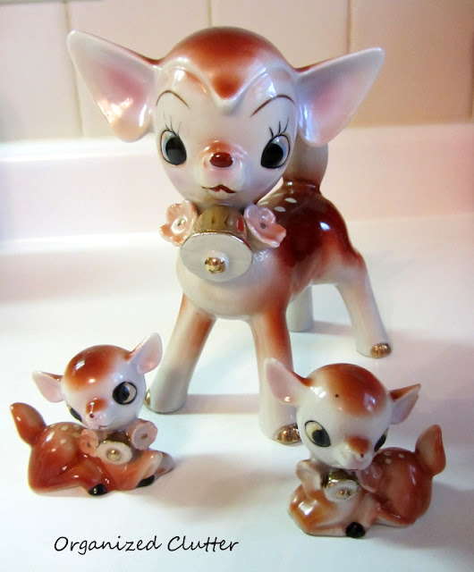 Kitschy Vintage Ceramic Made in Japan Three Piece Deer Figurine Set