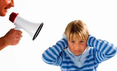Overreacting? Your Kid Will Too - man parent shout microphone child boy mom annoying