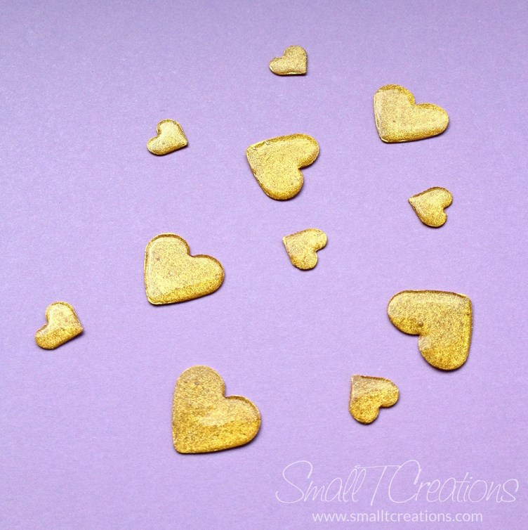 DIY Gold Glitter Enamel Hearts Tutorial | Small T Creations