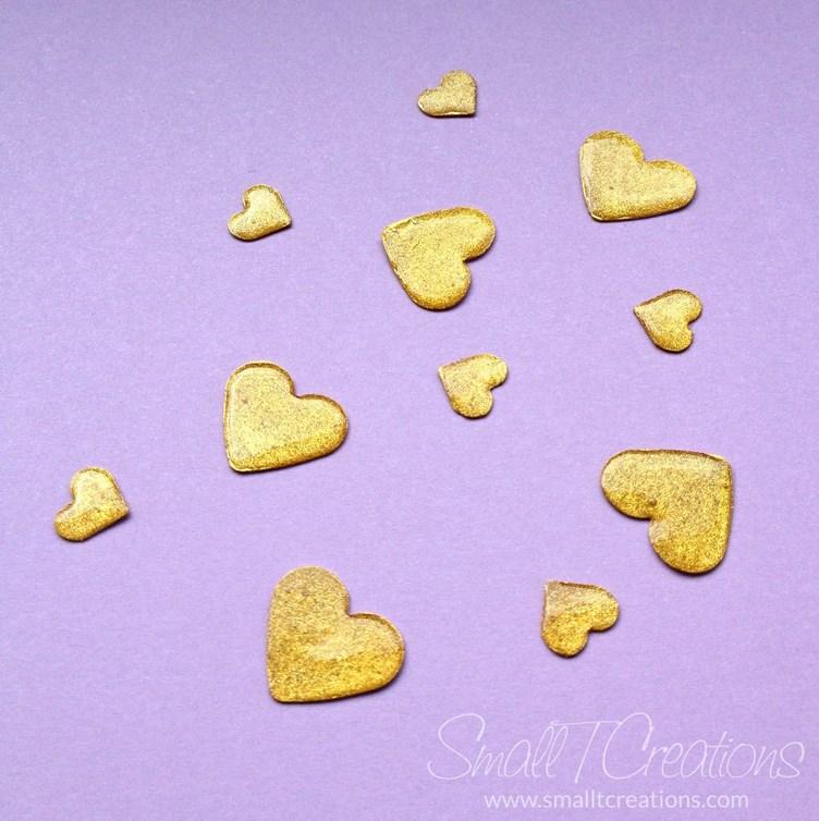 DIY Gold Glitter Enamel Hearts Tutorial | Small T Creations