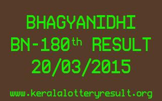 BHAGYANIDHI BN 180 Lottery Result 20-3-2015