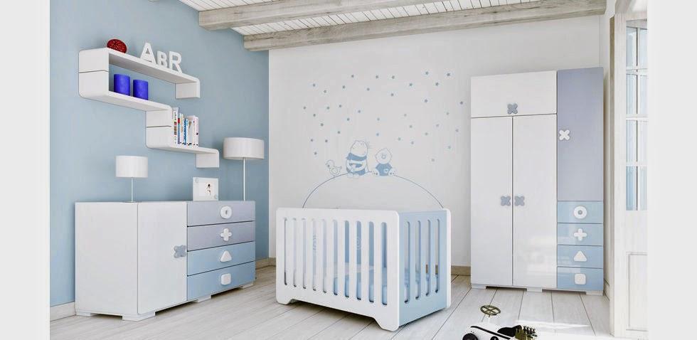 Cuartos de beb en celeste y blanco colores en casa for Muebles dormitorio bebe
