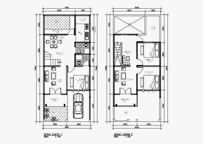 Contoh Gambar Denah Rumah Minimalis 2 Lantai Modern