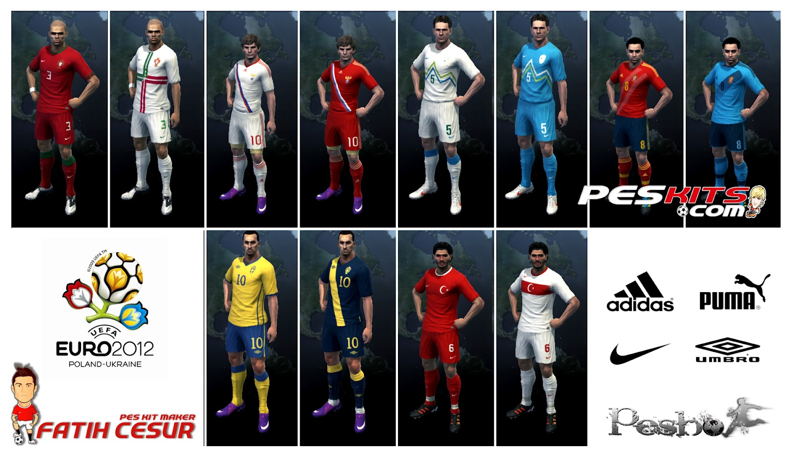 PES 2012 EURO 2012 Kits Pack by Fatih Cesur