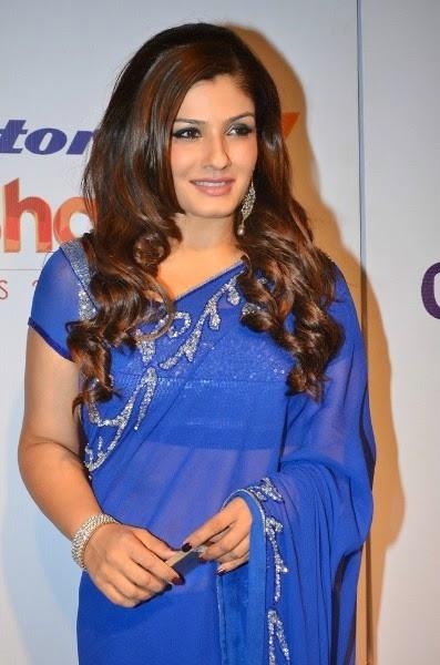 Raveena Tandon in blue saree