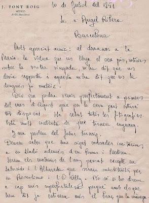 Carta firmada por el Dr. Joaquim Font a Ángel Ribera, 1951 (1)