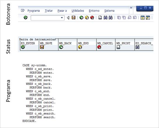 botonera status y ABAP