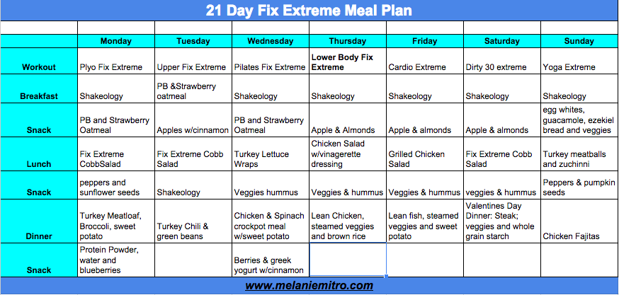 21 Day Fix Extreme Meal Plan, Week 1, Melanie MItro, Committed to Getting Fit, Top Coach