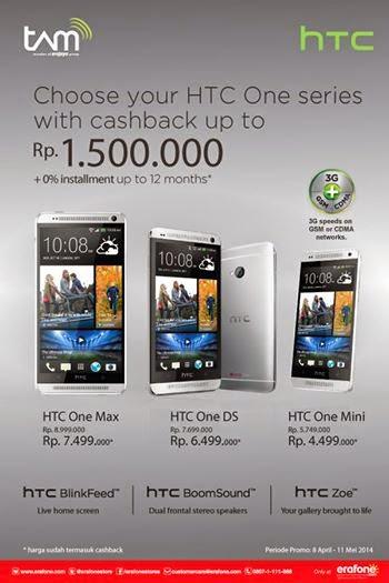 HTC One Series cashback hingga Rp 1.5 juta