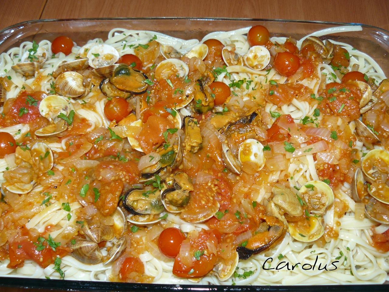 Tallarines con chirlas y mejillones carolus cocina - Espaguetis con chirlas ...
