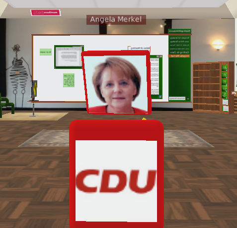 A mock up of Angela Merkel on QUBE