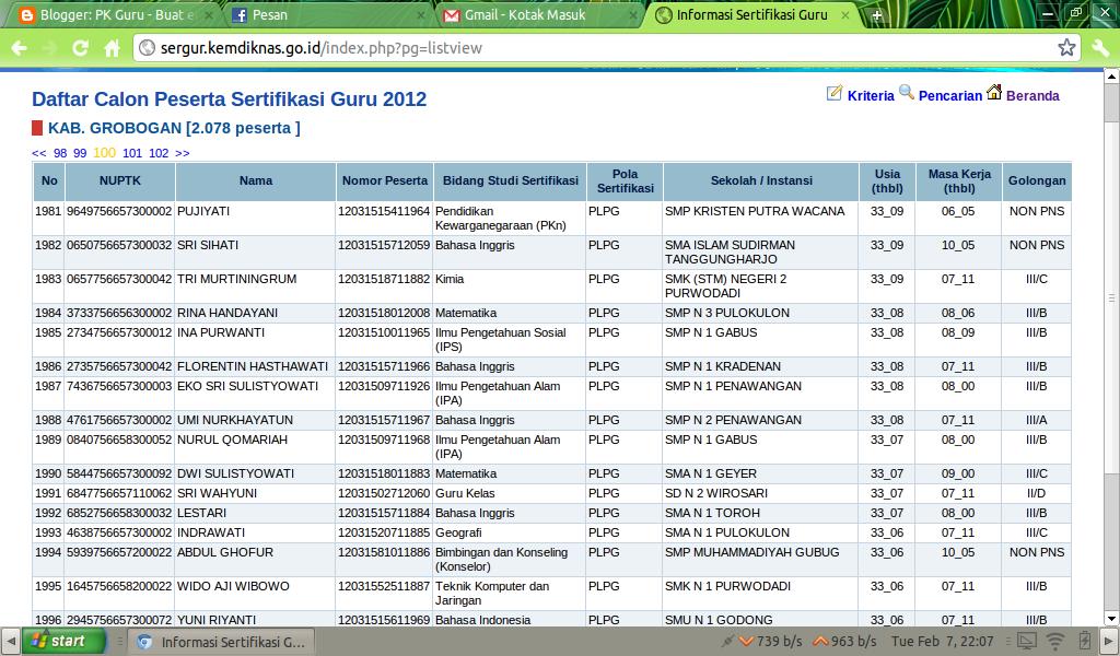 Berikut adalah gambar tampilan terbaru dari http://sergur.kemdiknas.go