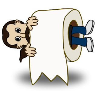 man in toilet roll cartoon clipart