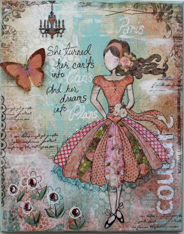 Such a pretty mess mixed media fun with bo bunny for Mixed media canvas art ideas