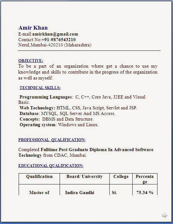 resume templates - Freshers Resume Sample